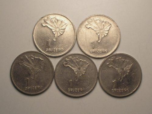 5 pçs 1 cr$ -1972 sesq. da independência / c-01