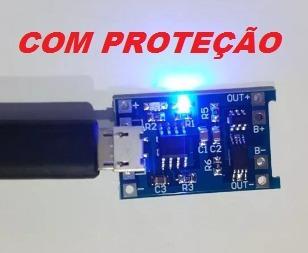 5 pçs carregador usb bateria de lítio tp4056 c/proteção