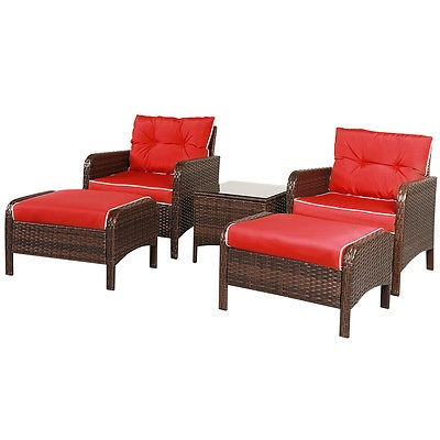 5 Piezas Patio Rota Mimbre Muebles Sofá Otomano Con Rojo Co ...