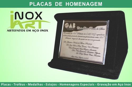 5 placa de homenagem em aço inox e estojo de veludo - 20x16