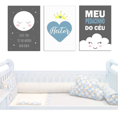 5 placas decoração infantil quarto bebe nuvem chuva de amor