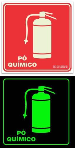 5 placas pvc fotoluminescente sinalização extintor rota fuga