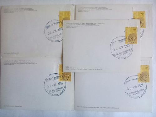 5 postales de bs. as. matas. 75c suc. villa del parque. 2003