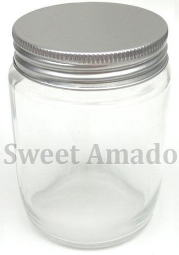 5 pote p/ bolo redondo vidro com tampa de alumínio de 200ml