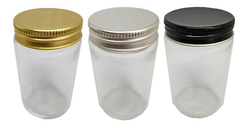5 potes comprido vidro com tampa prata / dourada 100ml