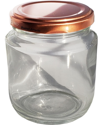 5 potes vidro tampa metal rose gold com 240ml lembrancinha