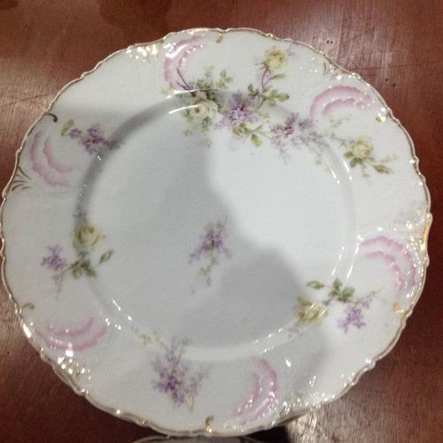5 pratos porcelana alemã pintada à mão anos 1910.
