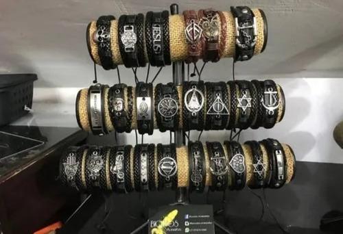5 pulseiras couro regulável sortidas cores duravél masculino
