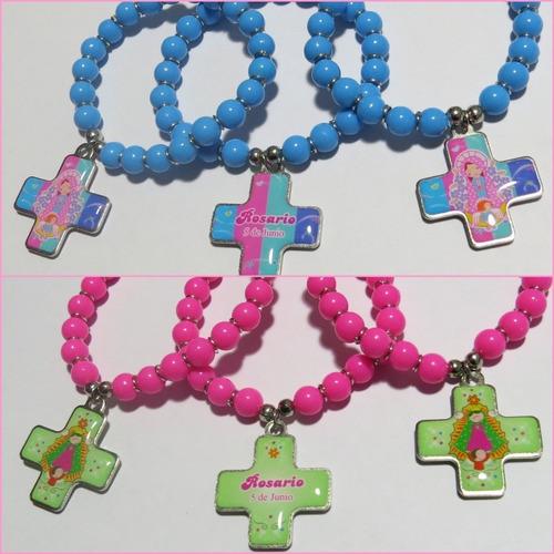 5 pulseras denarios con cruz souvenirs personalizadas