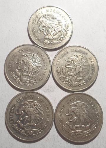 (5 pz.) 25 centavos 1950, 1951 1952 y 1953 plata 30%