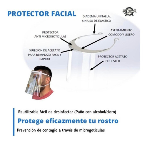 5 pza careta medica protector facial mascarilla face shield