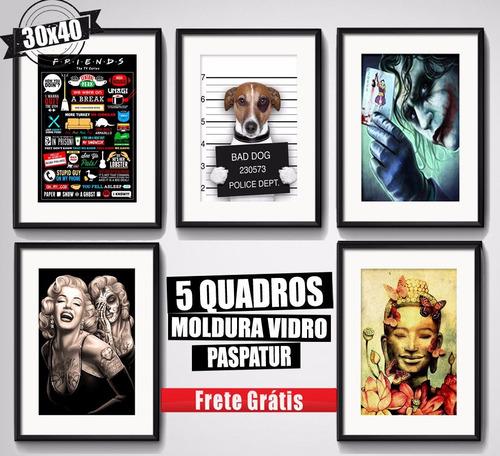 5 quadros filmes series musica rrs6 moldura vidro paspatur