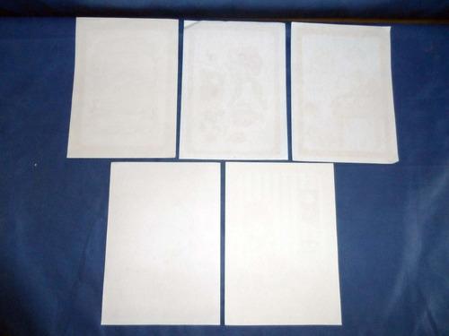 5 raros papeis de carta antigos variados lote