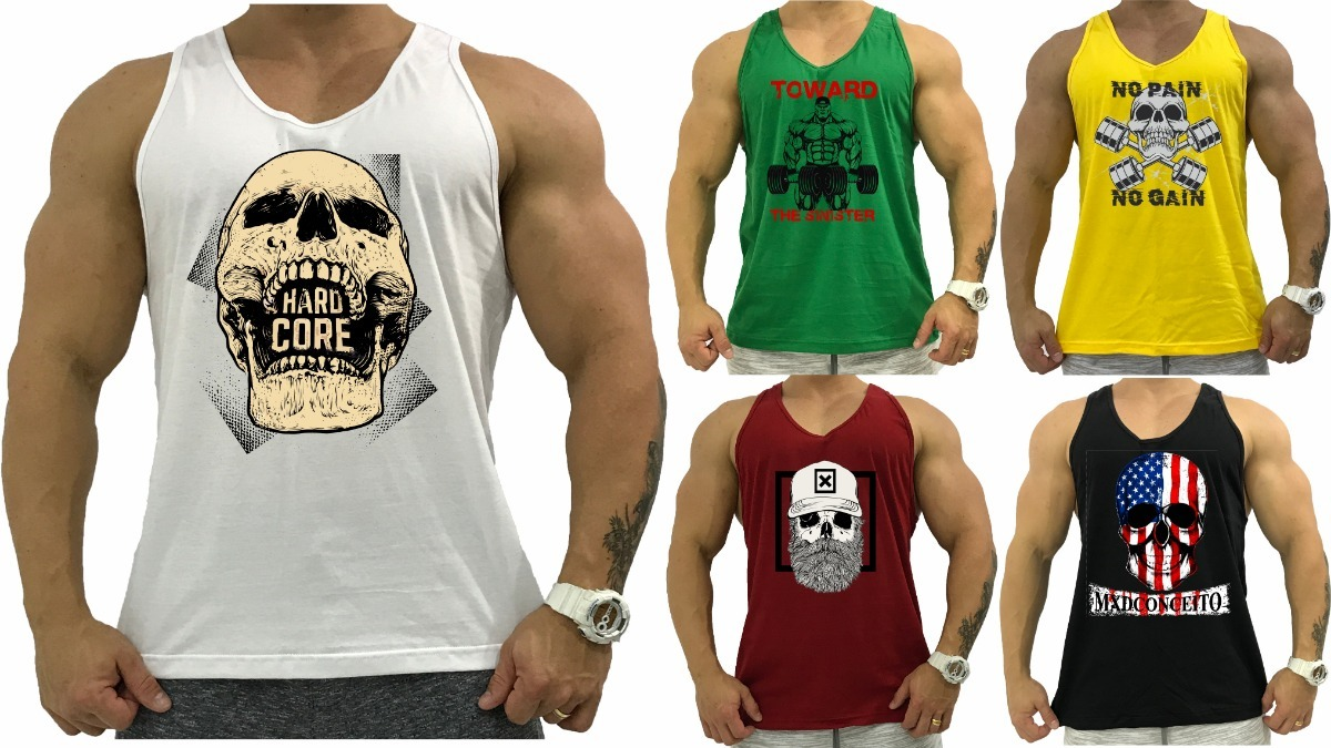 5 Regata Cavada Masculina Camiseta Slim Tank Anatomic - R  106 327b9156fd0