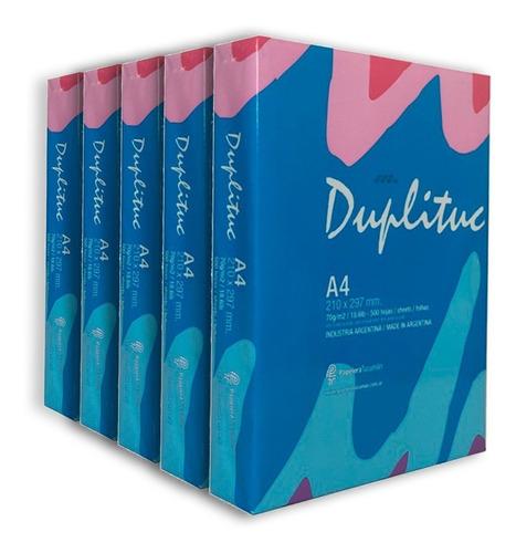 5 resmas a4 duplituc 70 gr papel obra multifuncion x caja