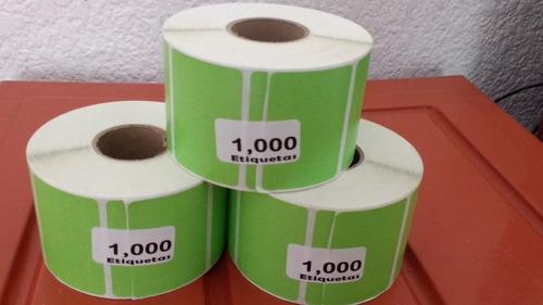 5 rollos de 1000 etiquetas 60x42 mm fondo verde