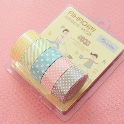 5 rolos de fita adesiva washi tape scrapbook 15mm x 5m
