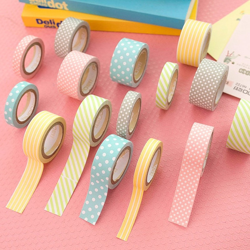 5 rolos de fita adesiva washi tape scrapbook 20mm x 5m