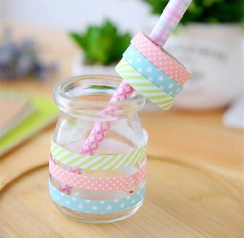 5 rolos de fita washi tape 5 cores planner decorar