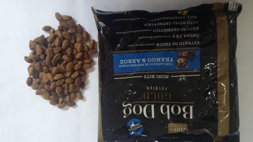 5 sacos de ração bob dog gold premium especial 1kg mini bits