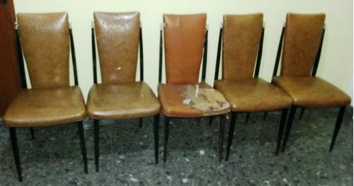 5 sillas de hierro