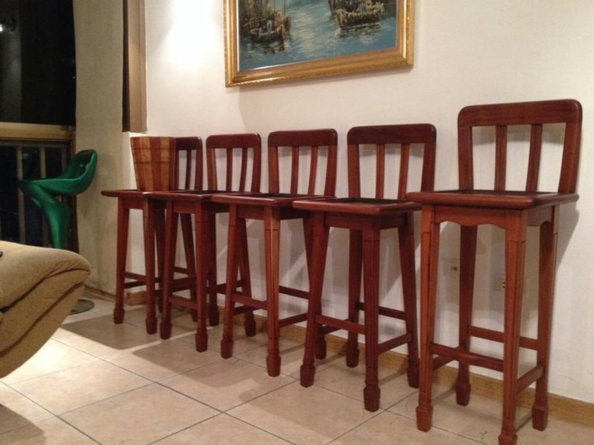 5 sillas para barra o mes n en caoba natural bs - Sillas altas para cocina ...