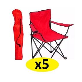 5 Plegable Jardín Sillas Campo Roja Aire Libre Playa Camping 3cRqS45AjL