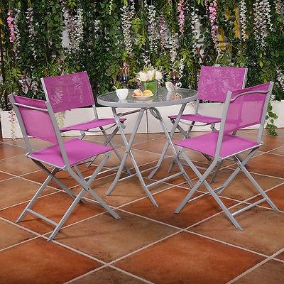 5 sillas plegables de pc bistro conjunto jardín mesa muebles