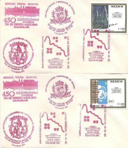 5 sobres de primer dia 450 año de fundación de gudalajara