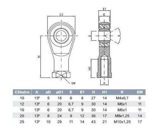 5 terminal rotular esférico ponteira rosca fêmea m6 x 1.00