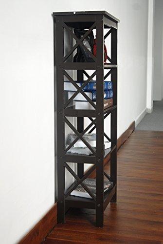 5-tier espresso madera estantería estantería de visualizaci