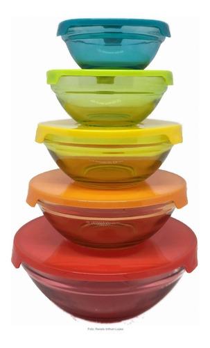 5 tigelas de vidro com tampa plástica colorida - casambiente