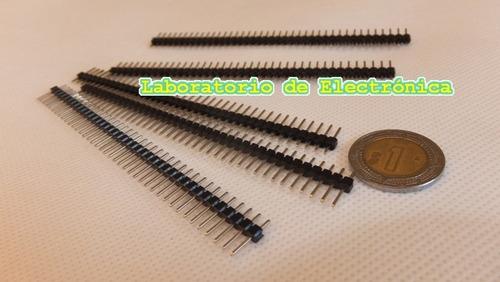 5 tiras headers macho 40 pines 0.1pulg 2.54mm conector pcb