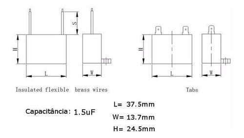 5 unidades capacitor partida 1,5uf x 450vac fio retangular