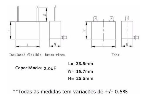 5 unidades capacitor partida 2uf x 450vac fio cbb61 40/70/21