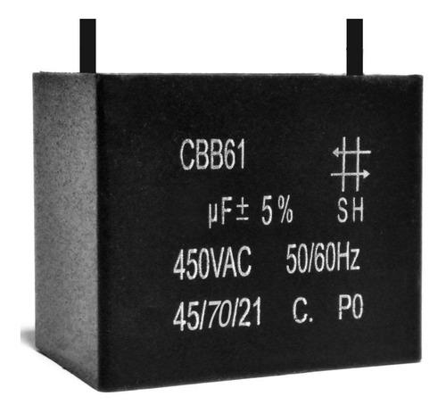 5 unidades capacitor partida 3uf x 450vac fio retangular