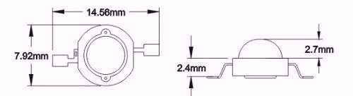 5 unidades led 3w uv ultra-violeta 395-400nm k1946