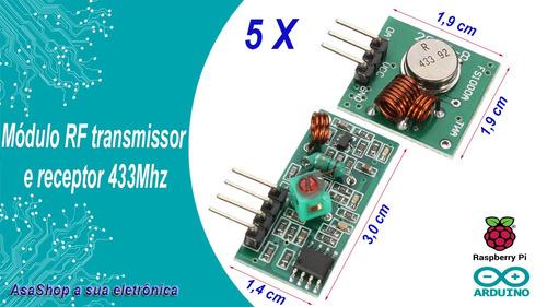 5 unidades módulo rf 433mhz transmissor e recepto arduino