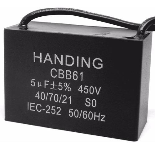 5 unids capacitor de partida 5uf x 450vac fio cbb61 40/70/21