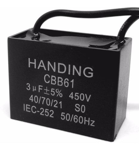 5 unids capacitor partida 3uf x 450vac fio cbb61 40/85/21