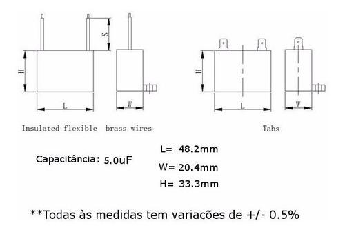 5 unids capacitor partida 5uf x 450vac faston cbb61 40/70/21