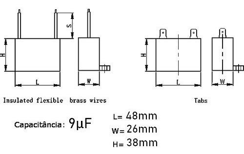 5 unids capacitor partida 9uf x 450vac fio cbb61 40/85/21