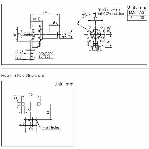 5 unids potenciômetro rotativo 11mm x eixo 25mm 5kb b5k b502