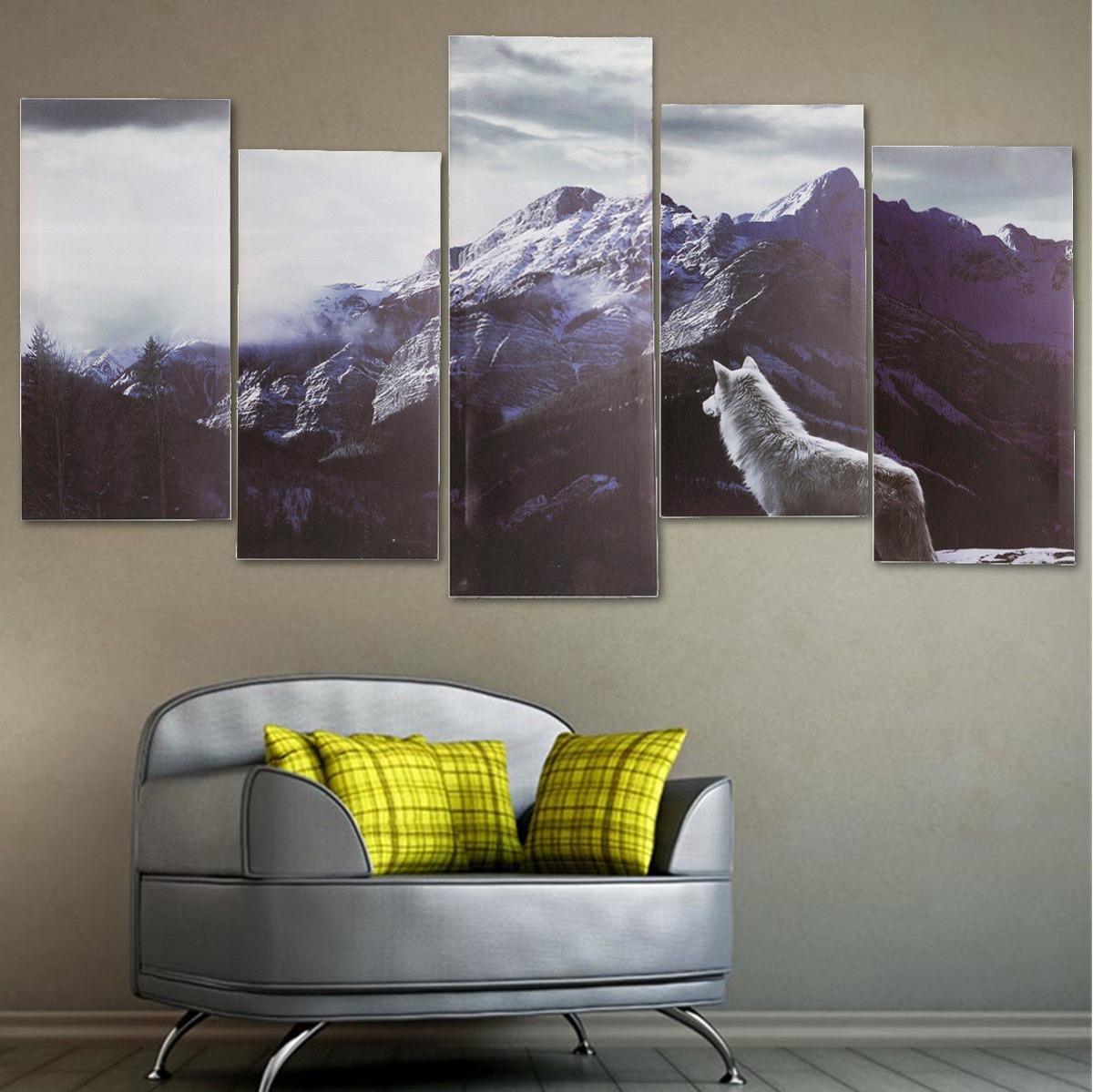 5 X Enmarcado Gran Montaña Meseta Lobo Wolv... (5 Piece L ...