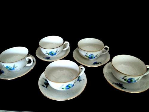 5 xicaras cafe porcelana tcheca com friso dourado cchic *