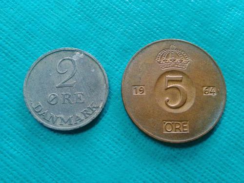 5 y 2 ore monedas antiguas de suecia y dinamarca