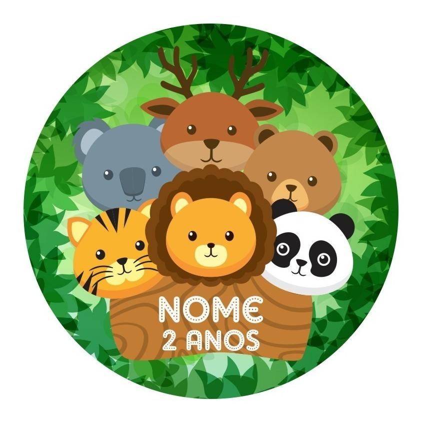 50 Adesivos Animais Safari Zoo Etiquetas Rotulos 5x5 Cm R 15 99