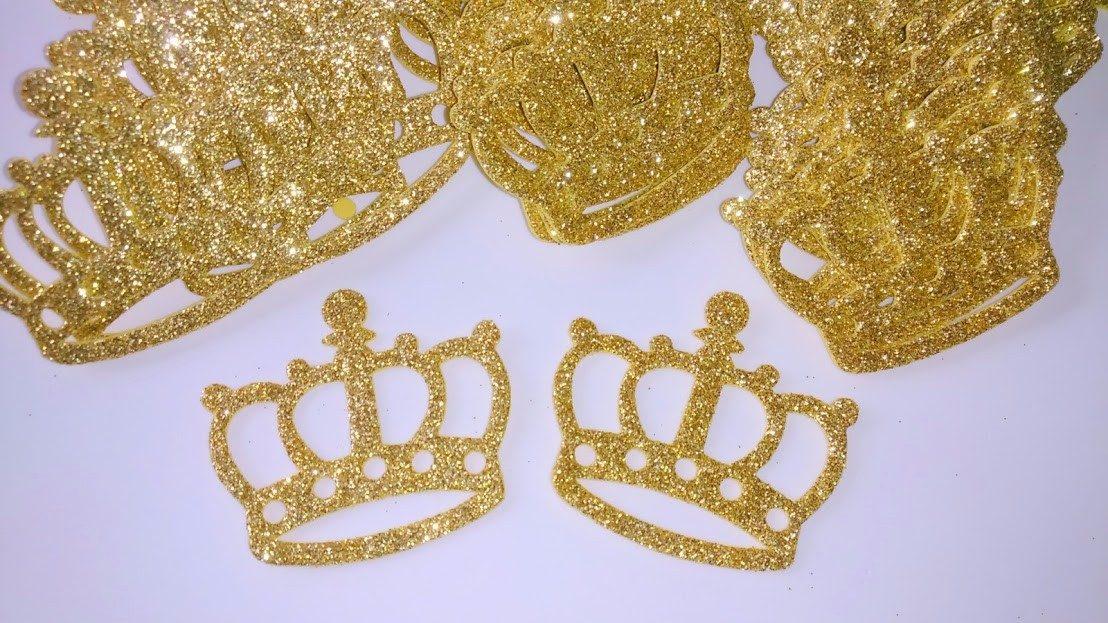50 Apliques Eva Coroa Dourada Vazada Glitter Lembrancinhas - R$ 17 ...