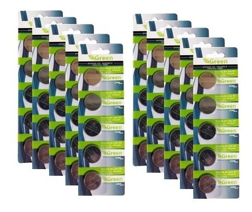 50 baterias pastilha lithium plc cr2032 green (10 cartelas)