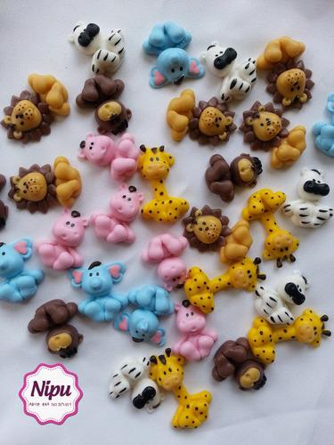 50 biscuit safari aplique e 50 colheres safari em biscuit